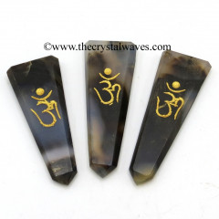 Grey Khayaldar Agate Aum Engraved Flat Pencil