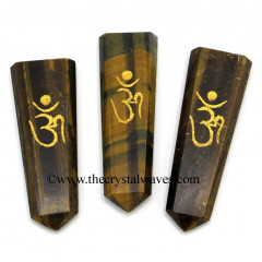 Tiger Eye Agate Aum Engraved Flat Pencil