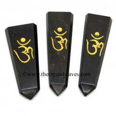 Black Agate Aum Engraved Flat Pencil