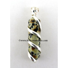 Dalmation Jasper Cage Wrapped Pencil Pendant