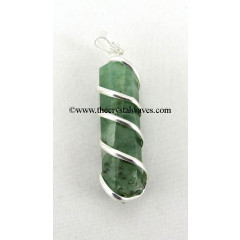 Green Aventurne ( Light) Cage Wrapped Pencil Pendant