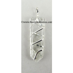 Crystal Quartz  Cage Wrapped Flat Pencil Pendant