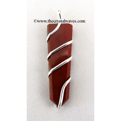 Red Jasper  Cage Wrapped Flat Pencil Pendant