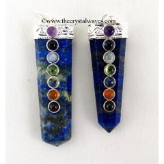 Lapis Lazuli Flat Pencil Chakra Pendant