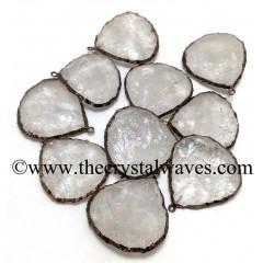 Crystal Quartz Handknapped Small Heart Black Rhodium Electroplated Pendant