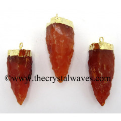 Carnelian 3 Side Handknapped Tooth Gold Electroplated Pendant