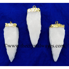 Snow Quartz 4 Side Handknapped Tooth Gold Electroplated Pendant