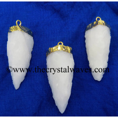Snow Quartz 3 Side Handknapped Tooth Gold Electroplated Pendant
