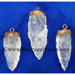 Crystal Quartz 3 Side Handknapped Tooth Copper Electroplated Pendant