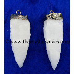 Snow Quartz 4 Side Handknapped Tooth Black Rhodium Electroplated Pendant