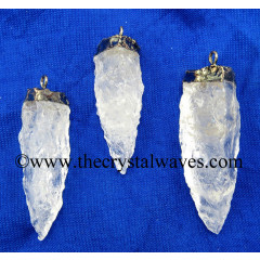 Crystal Quartz 3 Side Handknapped Tooth Silver Electroplated Pendant