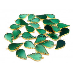Green Agate Chalcedony Angel Wings Gold Electroplated Pendants