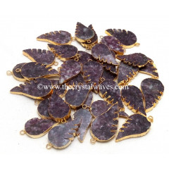 Lepidolite Angel Wings Gold Electroplated Pendants