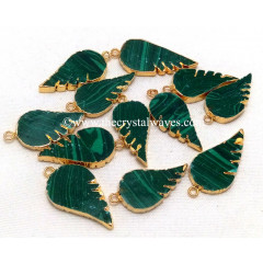 Malachite Manmade Angel Wings Gold Electroplated Pendants