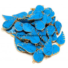 Tuquoise With Matrix Manmade Angel Wings Gold Electroplated Pendants