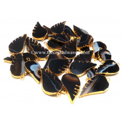 Black Banded Agate Chalcedony Angel Wings Gold Electroplated Pendants