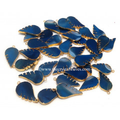 Blue Banded Agate Chalcedony Angel Wings Gold Electroplated Pendants
