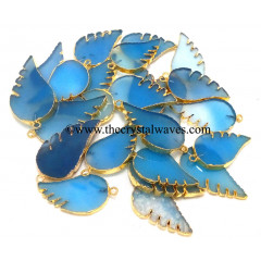 Blue Chalcedony Angel Wings Gold Electroplated Pendants