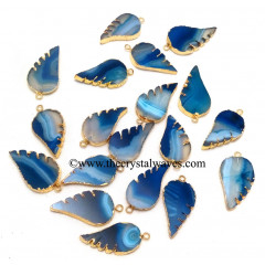 Persian Blue Banded Agate Chalcedony Angel Wings Gold Electroplated Pendants