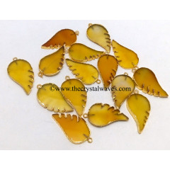 Yellow Chalcedony Angel Wings Gold Electroplated Pendants
