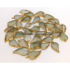 Aqua Chalcedony Angel Wings Gold Electroplated Pendants