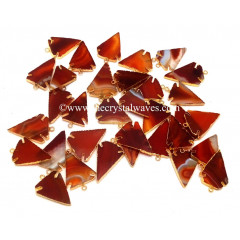 Red Banded Agate Chalcedony Arrowhead Gold Electroplated Pendants