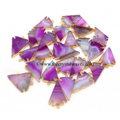 Pink Banded Agate Chalcedony Arrowhead Gold Electroplated Pendants