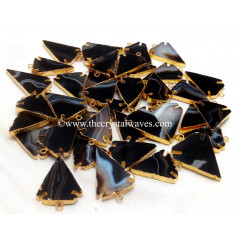 Black Banded Agate Chalcedony Arrowhead Gold Electroplated Pendants