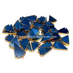 Blue Banded Agate Chalcedony Arrowhead Gold Electroplated Pendants