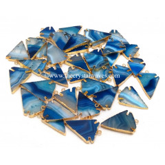 Persian Blue Banded Agate Chalcedony Arrowhead Gold Electroplated Pendants