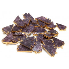 Lepidolite Arrowhead Gold Electroplated Pendants