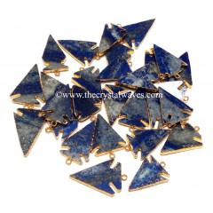 Lapis Lazuli Arrowhead Gold Electroplated Pendants