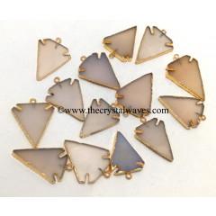 Pink Chalcedony Arrowhead Gold Electroplated Pendants