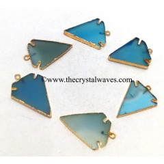 Blue Chalcedony Arrowhead Gold Electroplated Pendants