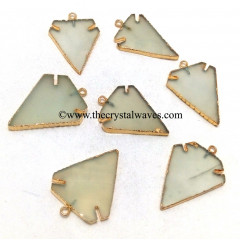 Aqua Chalcedony Arrowhead Gold Electroplated Pendants
