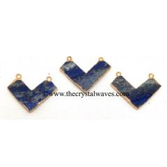 Lapis Lazuli Chevron Shape Gold Electroplated Pendants