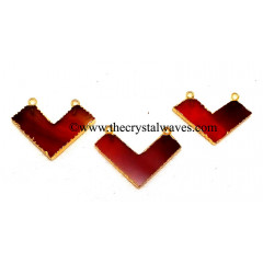 Red Banded Agate Chalcedony Chevron Shape Gold Electroplated Pendants