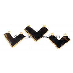 Black Banded Agate Chalcedony Chevron Shape Gold Electroplated Pendants