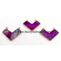Pink Banded Aagte Chalcedony Chevron Shape Gold Electroplated Pendants