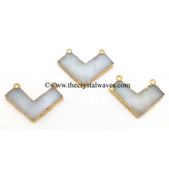 Snow Quartz Chevron Shape Gold Electroplated Pendants