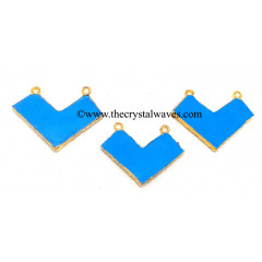 Turquoise Manmade Chevron Shape Gold Electroplated Pendants