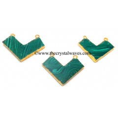 Malachite Manmade Chevron Shape Gold Electroplated Pendants