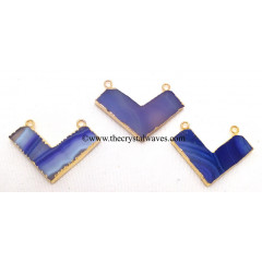 Purple Banded Agate Chalcedony Chevron Shape Gold Electroplated Pendants