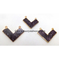 Lepidolite Chevron Shape Gold Electroplated Pendants