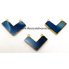 Blue Banded Aagte Chalcedony Chevron Shape Gold Electroplated Pendants
