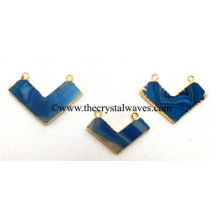 Persian Blue Banded Agate Chalcedony Chevron Shape Gold Electroplated Pendants