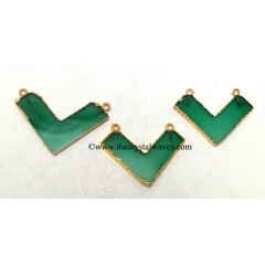 Green Chalcedony / Onyx Chevron Shape Gold Electroplated Pendants