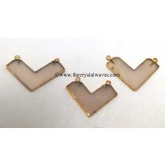 Pink Chalcedony / Onyx Chevron Shape Gold Electroplated Pendants