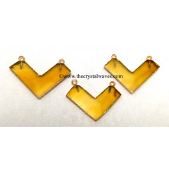 Yellow Chalcedony / Onyx Chevron Shape Gold Electroplated Pendants