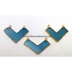 Blue Chalcedony / Onyx Chevron Shape Gold Electroplated Pendants